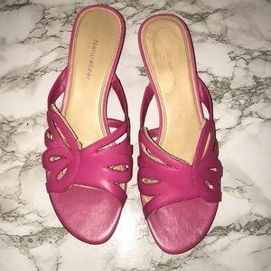 Naturalizer Pink Leather Low Heel Slip On Sandals
